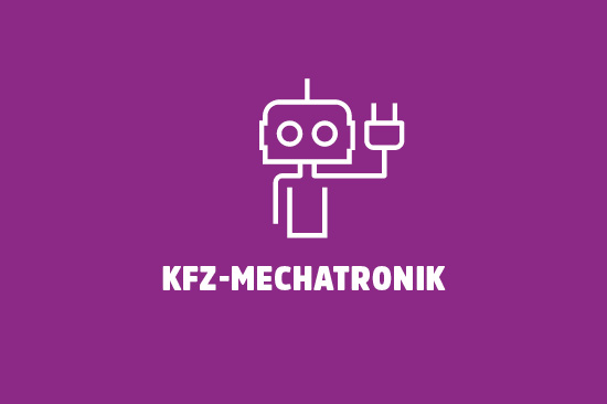Illustration: Roboter. Text: KFZ-Mechatronik.
